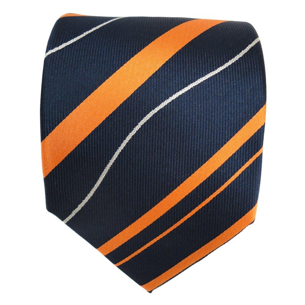 arancione blu royal argento striato TigerTie Designer Cravatta in seta Cravatta in seta Silk