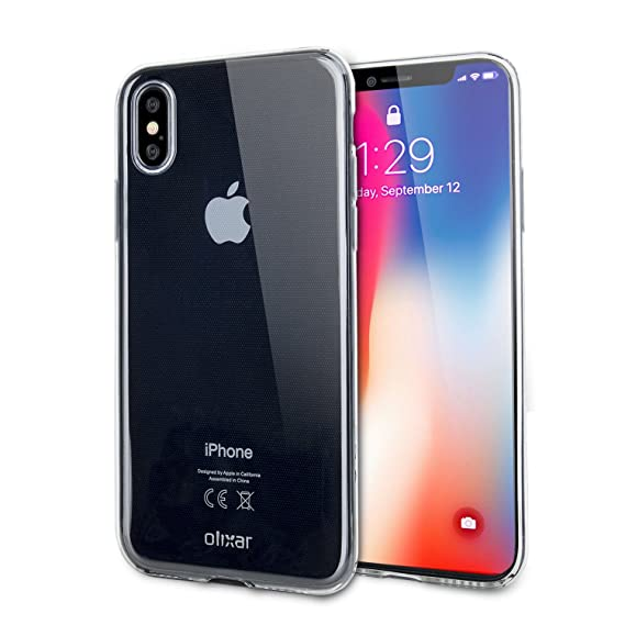 hot sale online 0de03 64f4a Olixar iPhone X/XS Clear Case - Ultra Transparent Cover - Ultra Thin - 100%  Clear - Flexible Transparent iPhone Xs/X Case - Wireless Charging ...