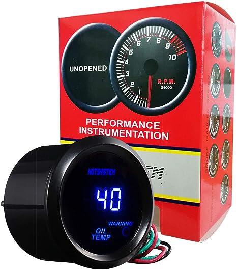 ESUPPORT Car 2 52mm Digital Oil Temp Gauge Red LED Light Temperature Meter
