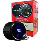 HOTSYSTEM Universal Oil Temperature Gauge Temp Meter Blue Digital LED DC12V 2inches 52mm for Car Automotive(Celsius)