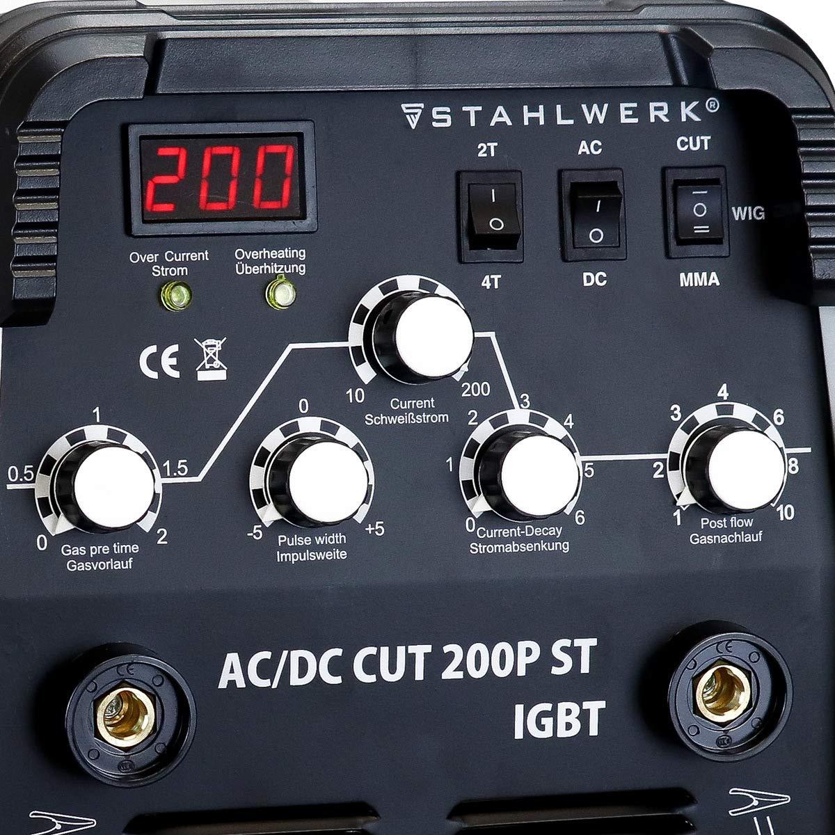 STAHLWERK AC/DC WIG 200 Plasma ST IGBT - Kombi 200 Amp WIG + MMA ...