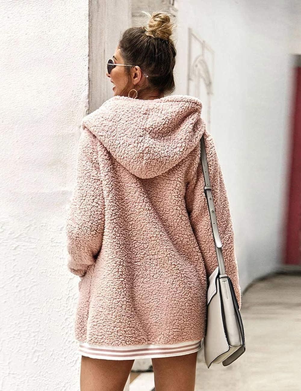 Invernale con Tasche Caldo e Spesso Oversize Cappotto da Donna con Cappuccio in Lana Tinta Unita in Pile Stile Casual con Cappuccio iWoo