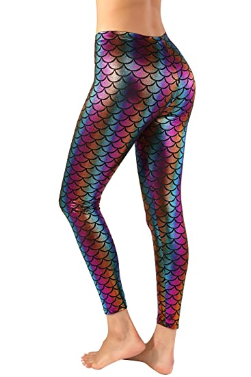 d143face2d609 Nihoe Womens Shiny Fish Scale Mermaid Leggings at Amazon Women's Clothing  store: