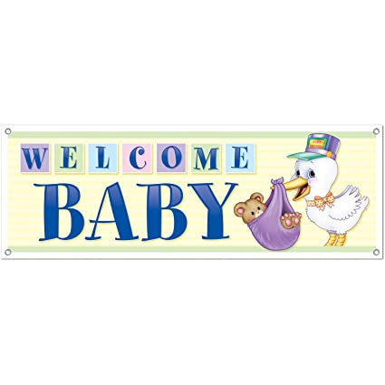 amazon com welcome baby sign banner party accessory 1 count 1