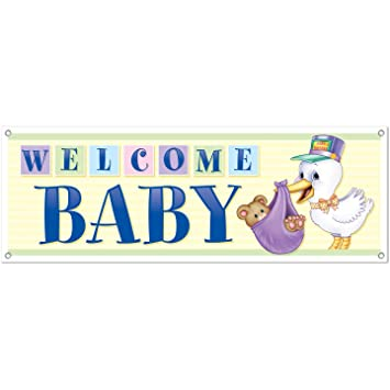 Amazon.com: Welcome Baby Sign Banner Party Accessory (1 count) (1 ...