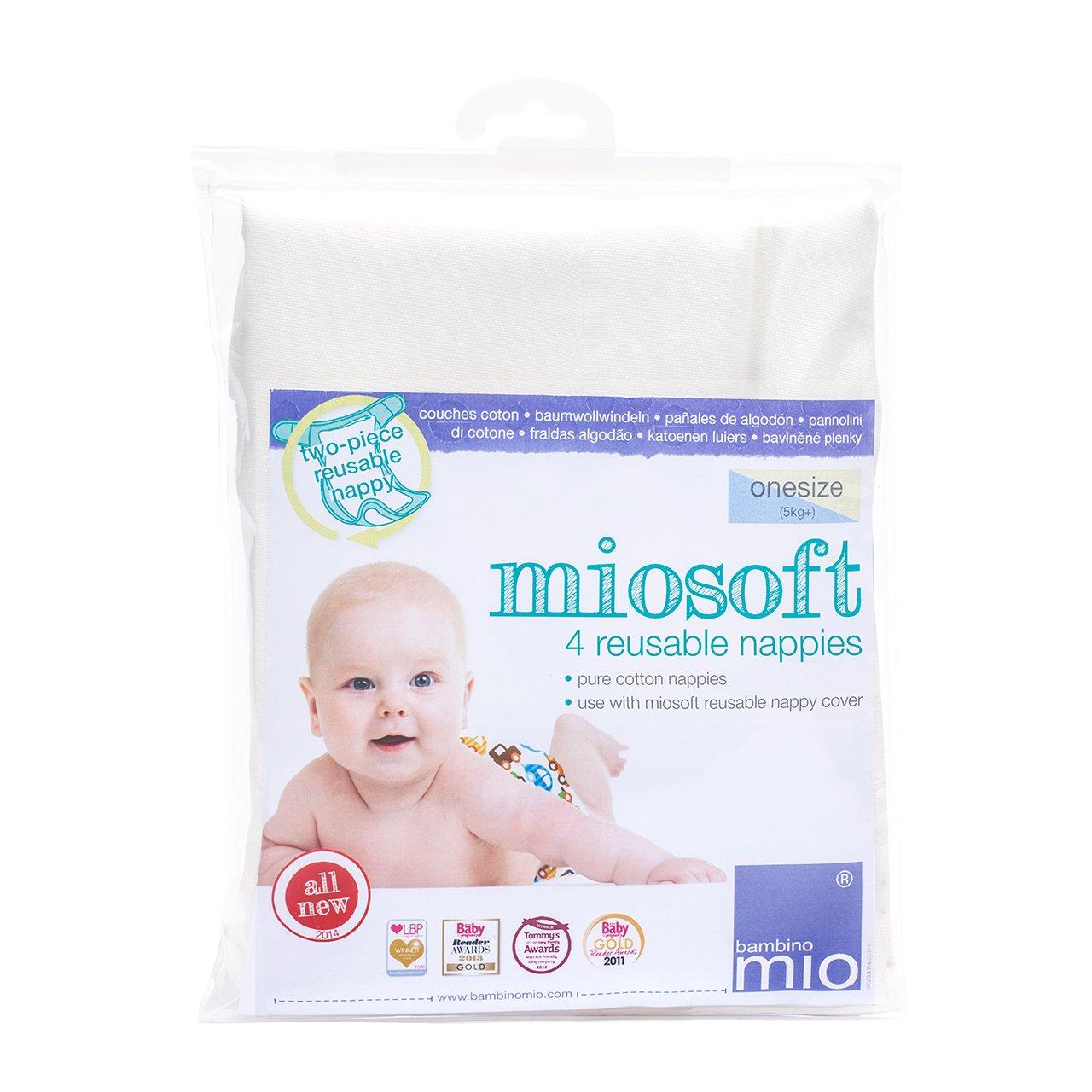 Bambino Mio Miosoft - Pañal de tela, 4 unidades, talla única NAPPY PACK
