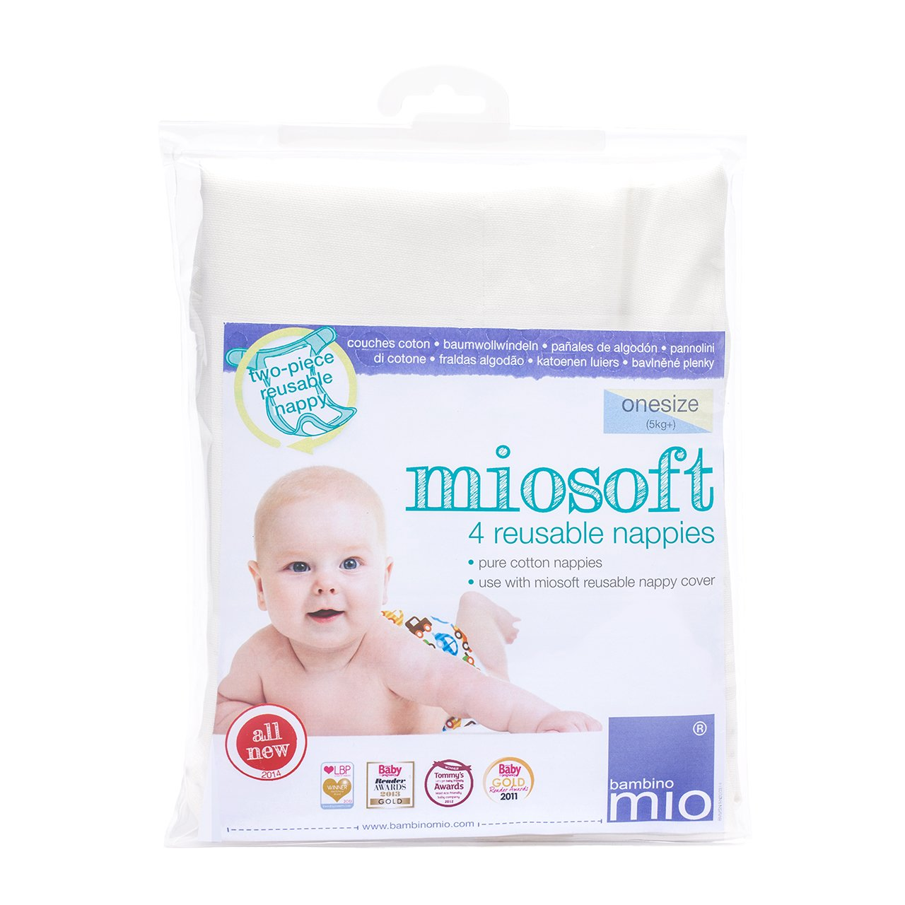 Bambino Mio Miosoft Prefold Diaper, White, OneSize, 4 Pack NAPPY PACK