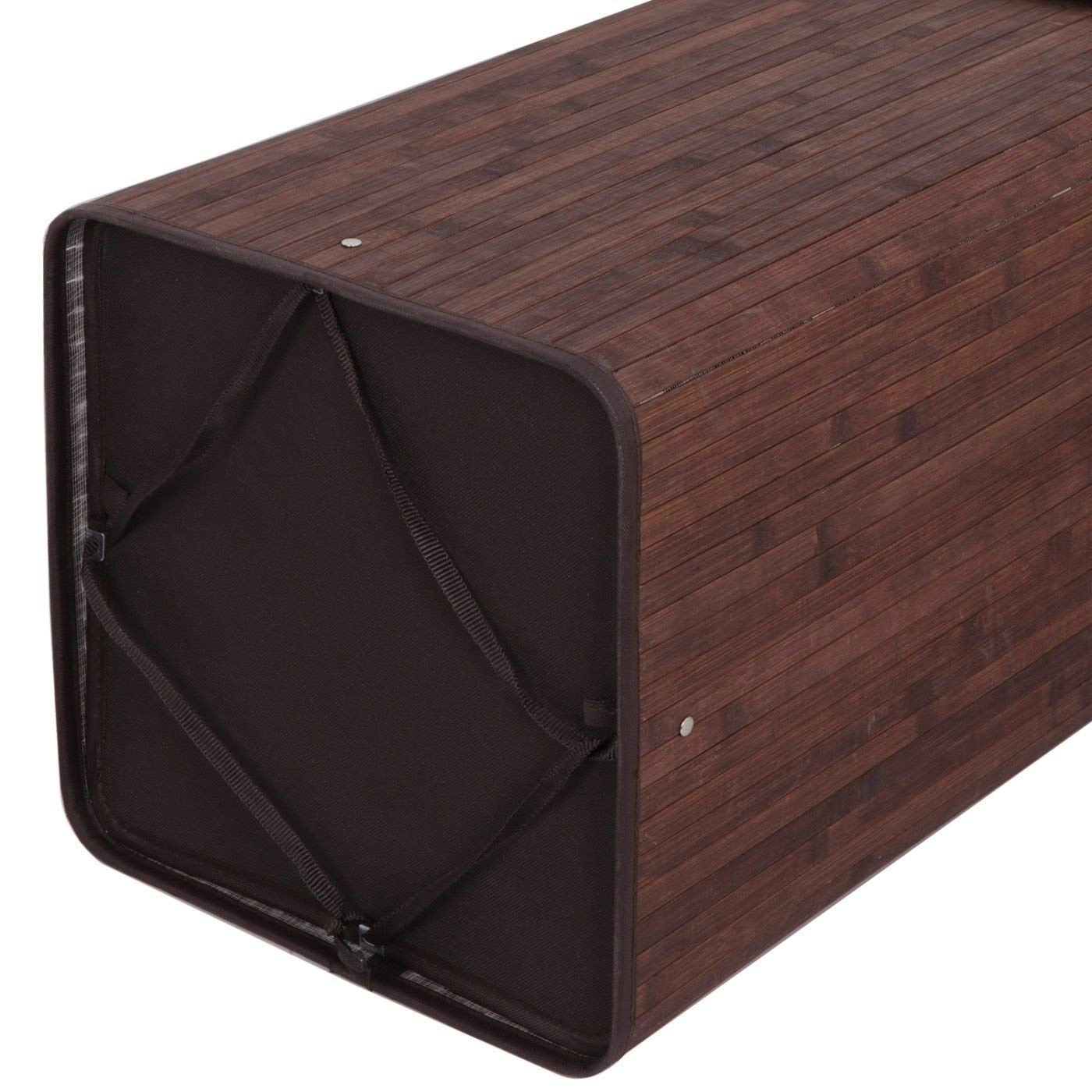 Hamper Laundry Basket Washing Cloth Storage Bin with Folding Lid Dark Brown Eco-Friendly Bamboo