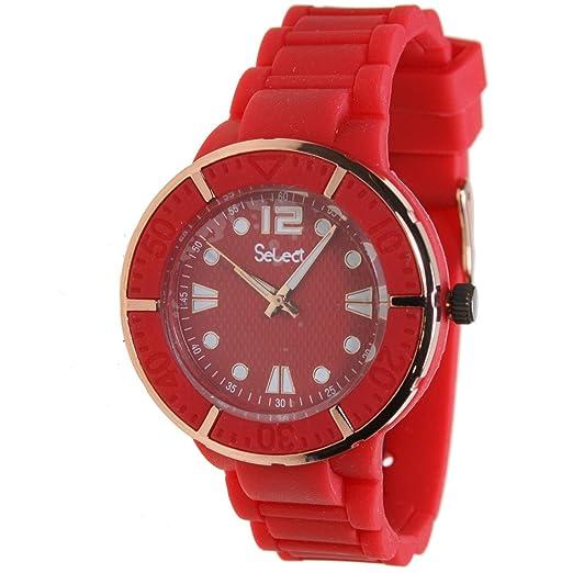 Select Te-40-09 Reloj Analogico Unisex Caja De Goma Esfera Color Rojo: Amazon.es: Relojes