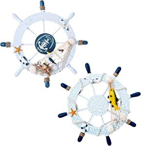 """2 Packs 11"""" Nautical Beach Wooden Boat Ship Steering Wheel with Fishing Net Shell, Wall Decor Door Hanging Ornament, Beach Theme Home Decoration"""