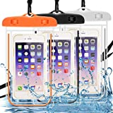 Waterproof Case 3 Pack, DLAND Cell Phone Dry Bag Waterproof Bag Pouch, Clear Sensitive PVC Touch Screen for iPhone, Samsung,Huawei,and other Devices up to 6.0in- Glow in Dark.
