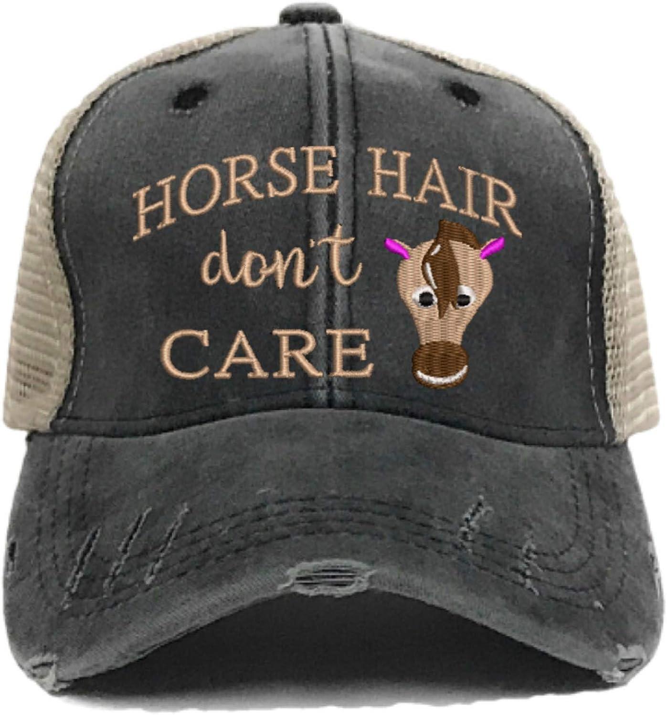 Horse Hair Don't Care Women's Farm Barn Custom Distressed Trucker Hat Horse Farm Funny Baseball Cap 71AEqRqQPtL