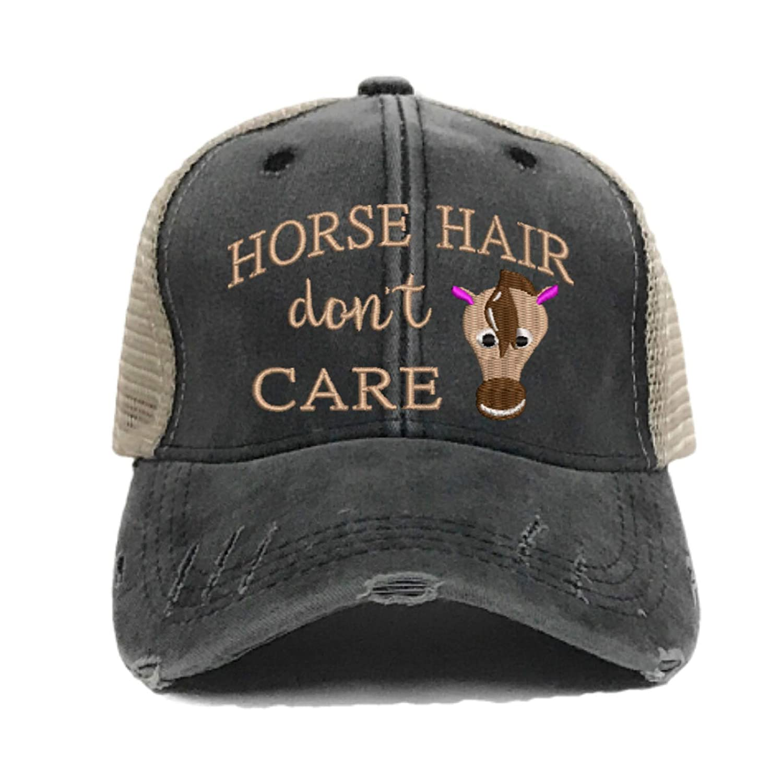 Horse Hair Don't Care Women's Farm Barn Custom Distressed Trucker Hat Horse Farm Funny Baseball Cap