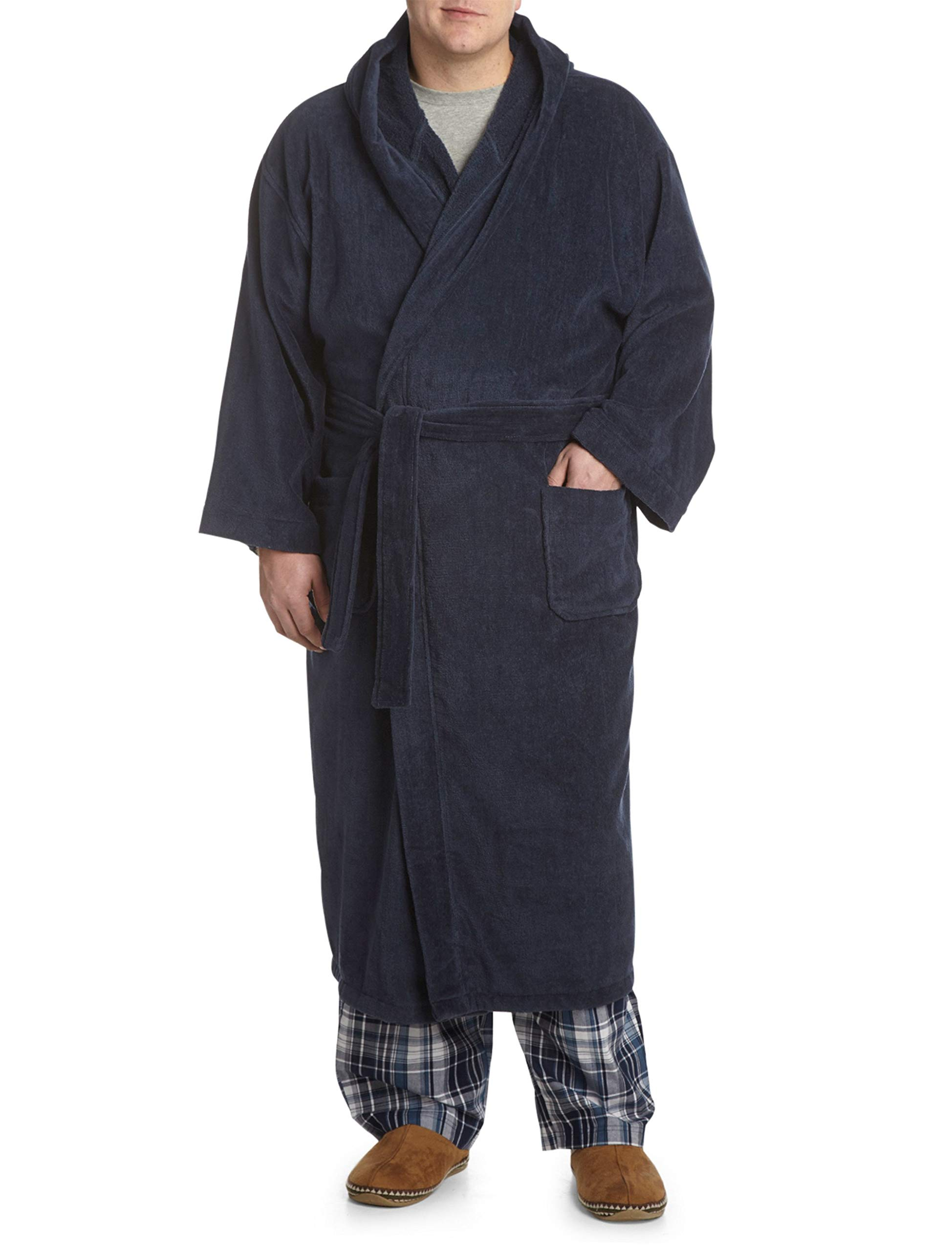 Harbor Bay by DXL Big and Tall Hooded Terry Robe (5X/6X, Navy)