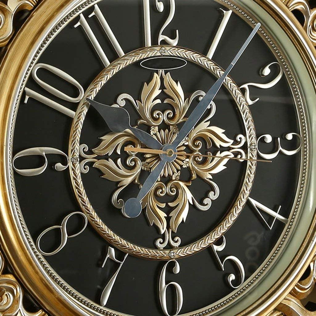 ヴィンテージの壁時計豪華なヨーロッパの創造的なミュート壁時計豪華なエンボス時計(色:1#、サイズ:20インチ)