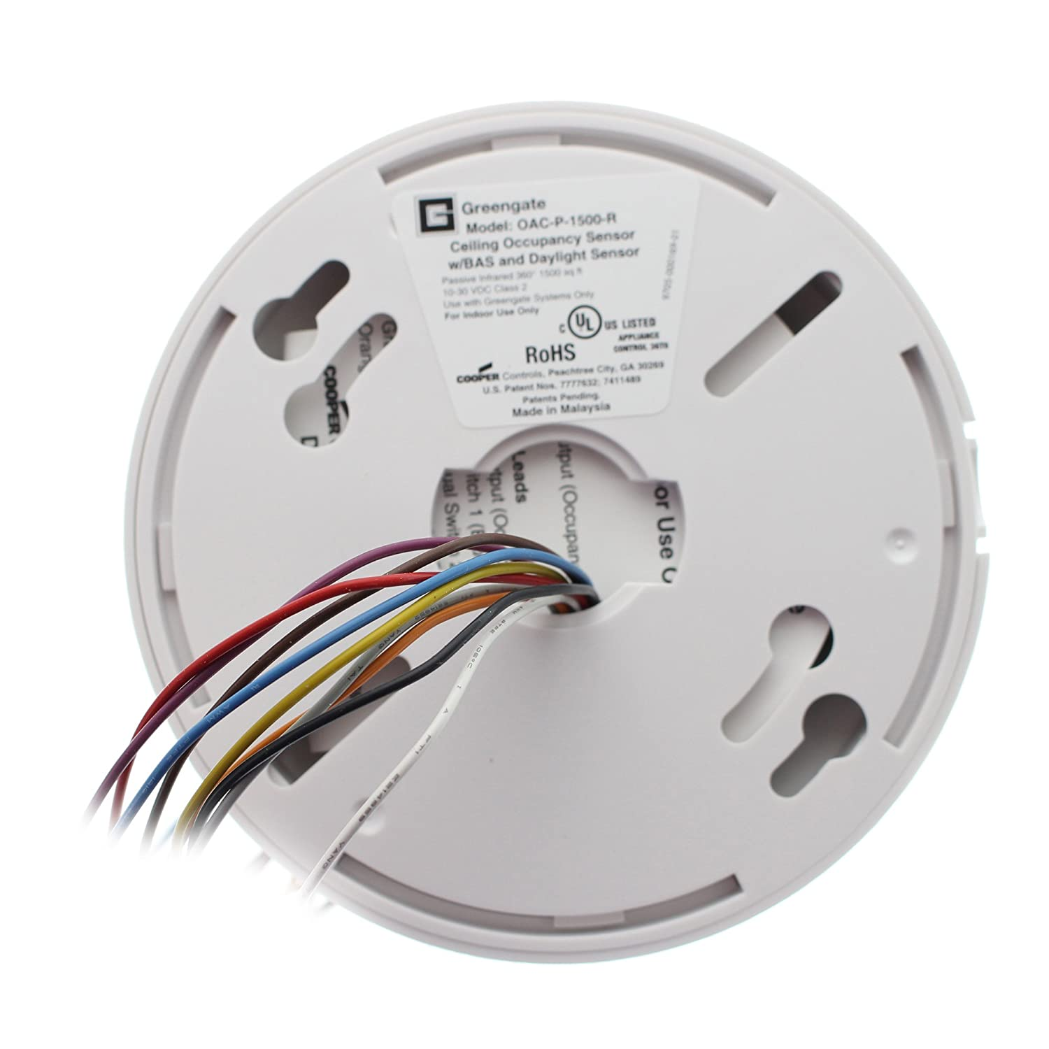 Cooper Controls OAC-P-1500-R MicroSet Ceiling Sensor with BAS and Daylight Sensor, Passive Infrared, 360 Degree, 1500 Square Feet, 10-30 VDC, ...