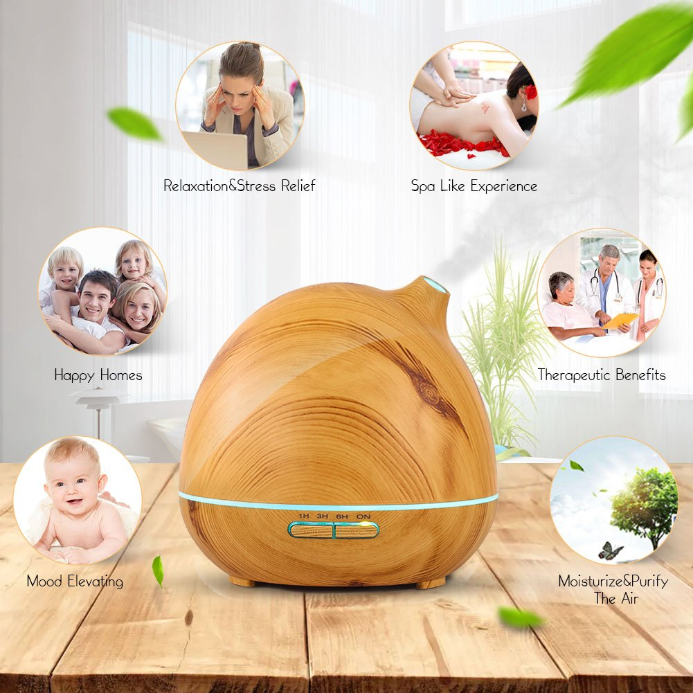 Vividay Cool Mist Humidifier Ultrasonic Essential Oil Diffuser Aromatherapy Diffuser for Essential Oils Yoga Office Bedroom Humidifier Wood Grain 400 Milliliter Bpa-Free 1 Year Guarantee