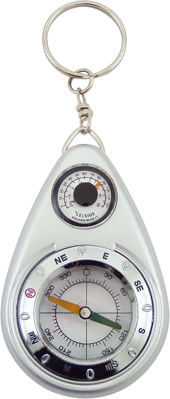 Générique Llavero brújula con termómetro, plástico, Gris, 4,5 x 1,5 x 11 cm