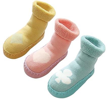 0e84da0321c7d LIUCHENGHANG Chaussette Chaussons 3 Lots de Pairs Bébé Enfant avec Semelles  Antidérapant Souple Chaude en Coton