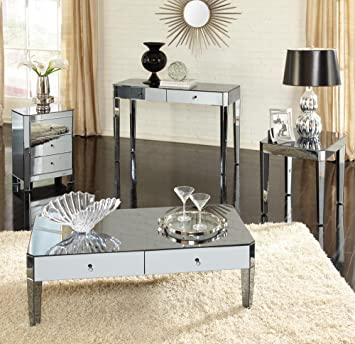 mirrored coffee table sets elegant standard furniture parisian piece mirrored coffee table set