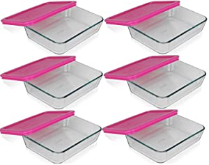 Pyrex 3-cup Rectangle Glass Food Storage Containers With pink Plastic Lids.Use For Lunch Box, Storage Food ,And Baking Dish (pack of 6 Glass Containers) )