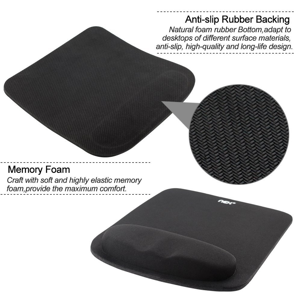 NEX Mouse Pad with Keyboard Wrist Rest Pad Kit Comfortably Made of Memory Foam Pink