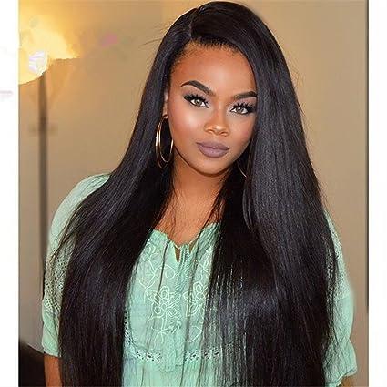 Full pelucas de pelo humano encaje Brasil Virgen Pelo 100% recto sedoso 150% peluca