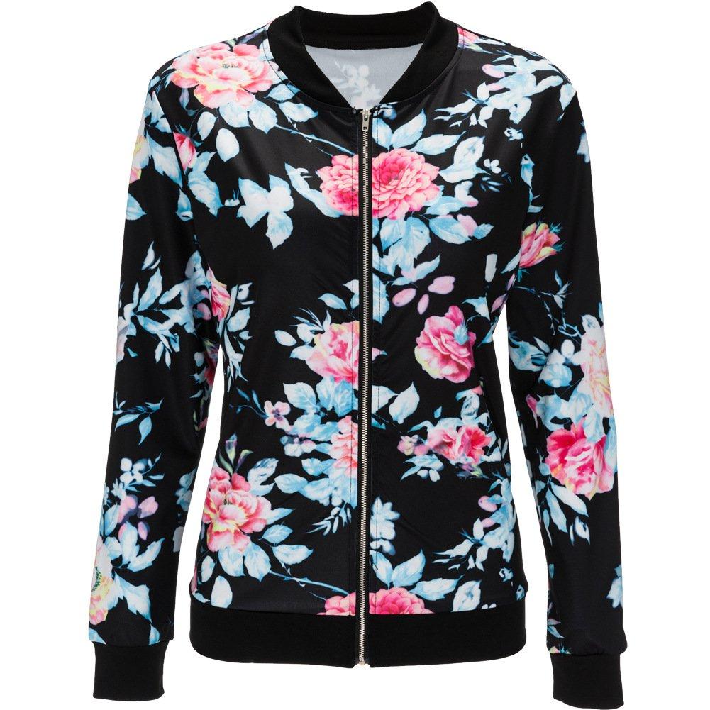 cae39d55f Top2: Doris Women\'s Lightweight Zip-Up Floral Print Bomber Jacket