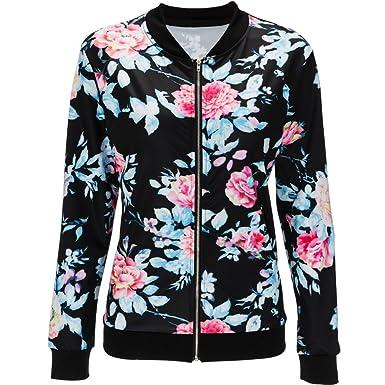 8a2f79049387 Doris Women s Lightweight Zip-Up Floral Print Bomber Jacket at ...