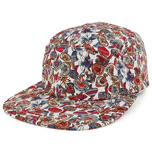 ef381a03903 Trendy Apparel Shop 5-Panel Lightweight Unstructured Mushroom Flower Print  Flatbill Snapback Cap - RED