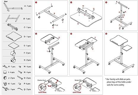 Tatkraft Vanessa 71x40.5x71-103.5 F/ür Links Und Rechtsh/änder Laptopst/änder Maus Holz 13582 Laptoptisch Schwarz 360 Grad Drehbar Stahl