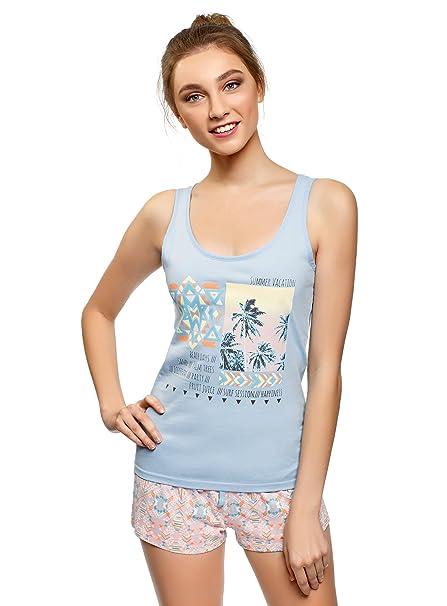 oodji Ultra Mujer Pijama Estampado con Pantalón Corto, Azul, ES 36 / XS