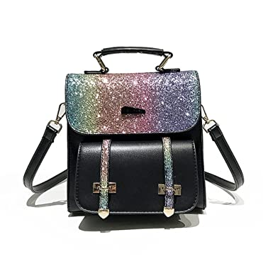 c153b0a34e43 YSMYWM Women Fashion Bling Shiny Sequins Backpack Girls PU Leather Daypack Travel  Bag Shoulder Bag School