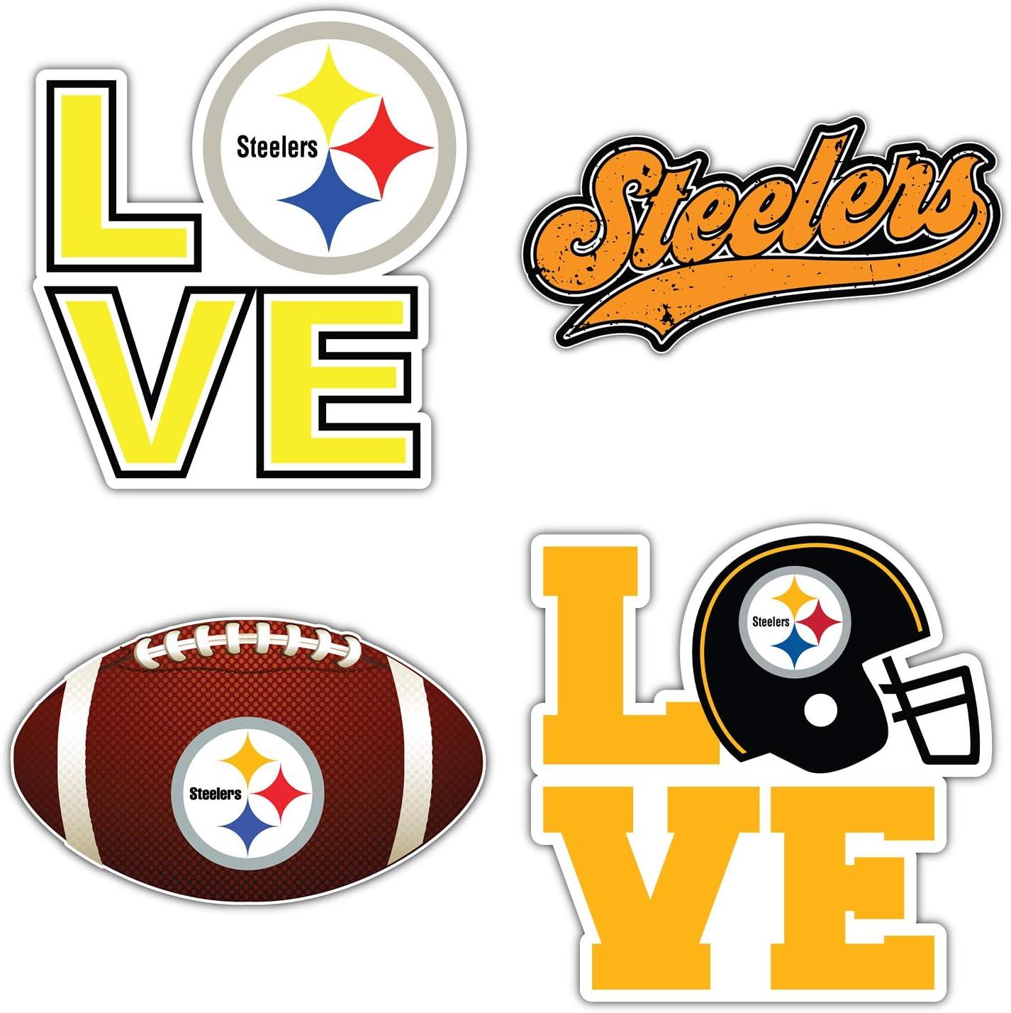 Set of 4 Pieces Pittsburgh City Steeler Football Logo Die-Cut Decal Sticker 5 Longer Side