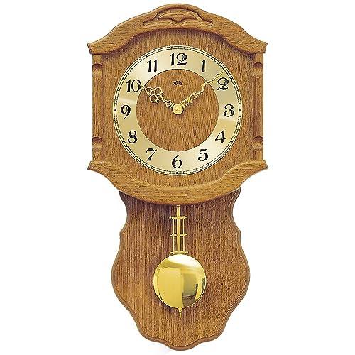 Reloj De Péndulo AMS Reloj de pared 964/4 cuarzo con péndulo Carcasa de madera de roble: Amazon.es: Joyería