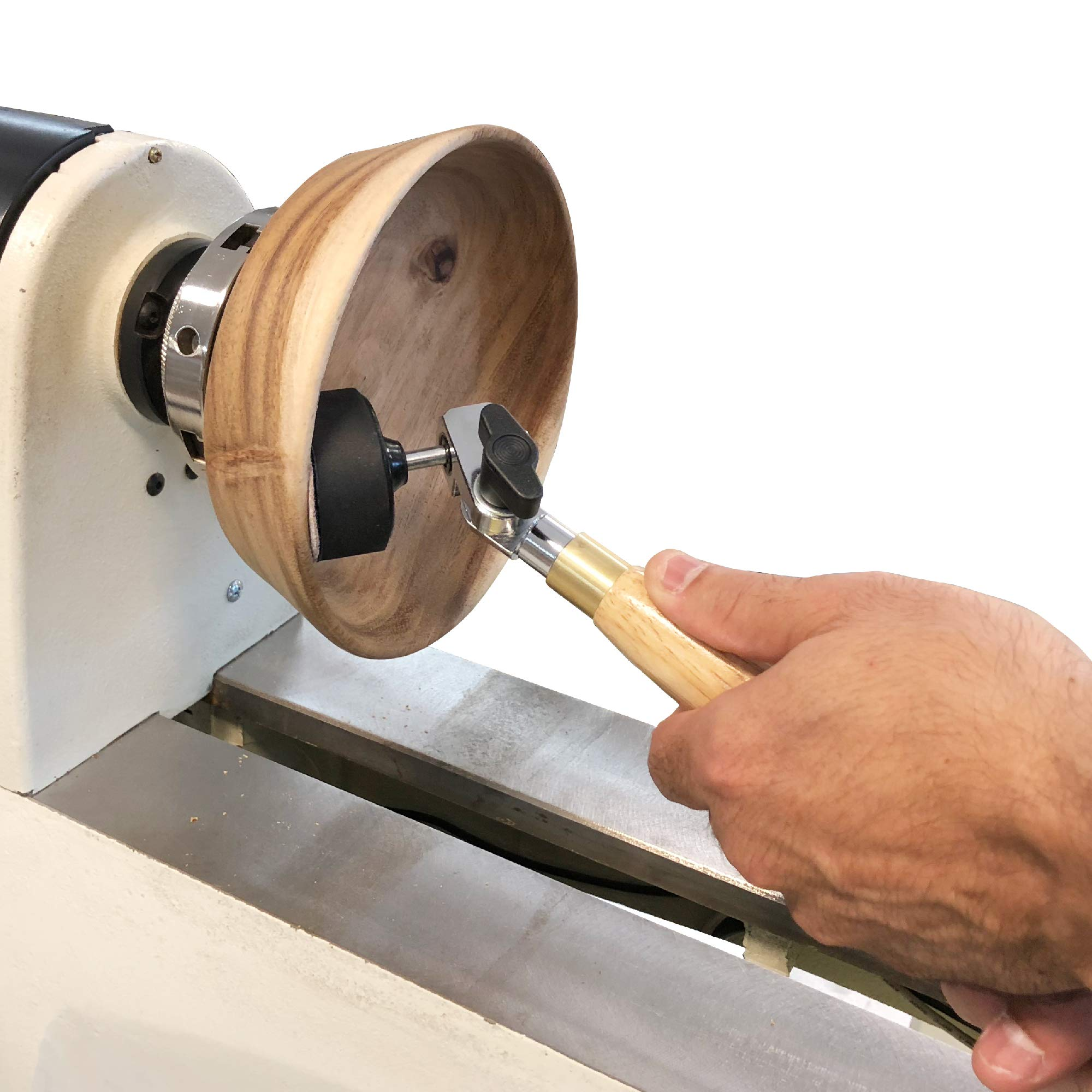 2'' Diameter Bowl Sander with Foam Hook & Loop Pad and 9'' Long Hardwood Handle, Ideal for Wood Turners for Bowls, Large Goblets, Platters, Some Spindles and Concave Shapes by Peachtree Woodworking Supply (Image #2)