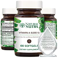 Natural Nutra Vitamin A 10,000 IU, Retinol Palmitate Dietary Supplement from Cod Liver Oil, Extra Strength for Eye, Skin, Nails and Immune Health with Omega 3, 100 Gluten Free Softgels