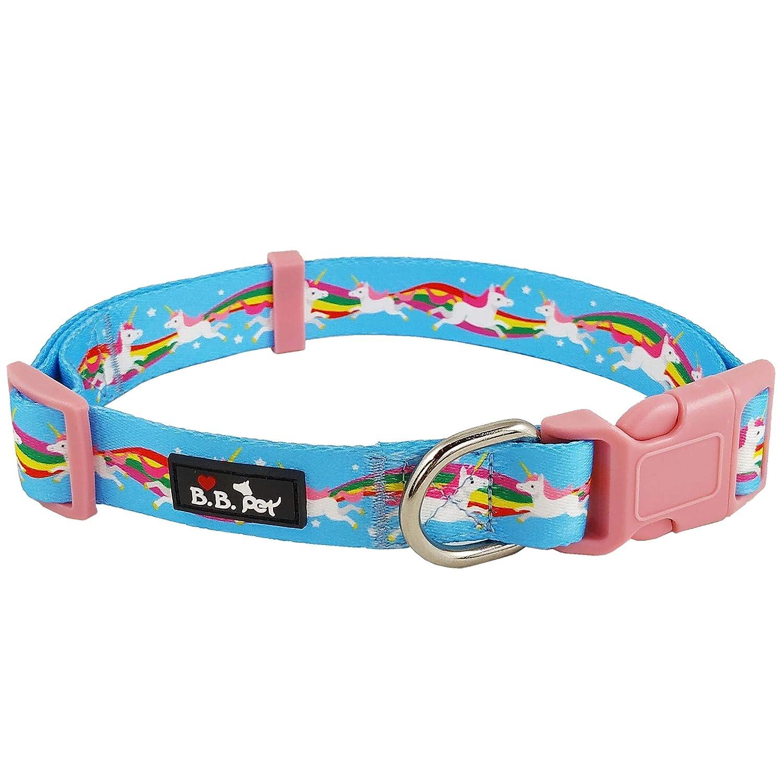 15\ Bestbuddy Pet Unicorns and Rainbows bluee Fairytale Durable Nylon Designer Fashion Dog Collar Trendy Comfortable Adjustable Dog Collar with Buckle BBP024