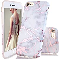 iPhone 7 Case,iPhone 8 Case,DOUJIAZ Shiny Rose Gold White Marble Design Clear Bumper TPU Soft Case Rubber Silicone Skin Cover for iPhone 7(2016)/iPhone 8(2017)