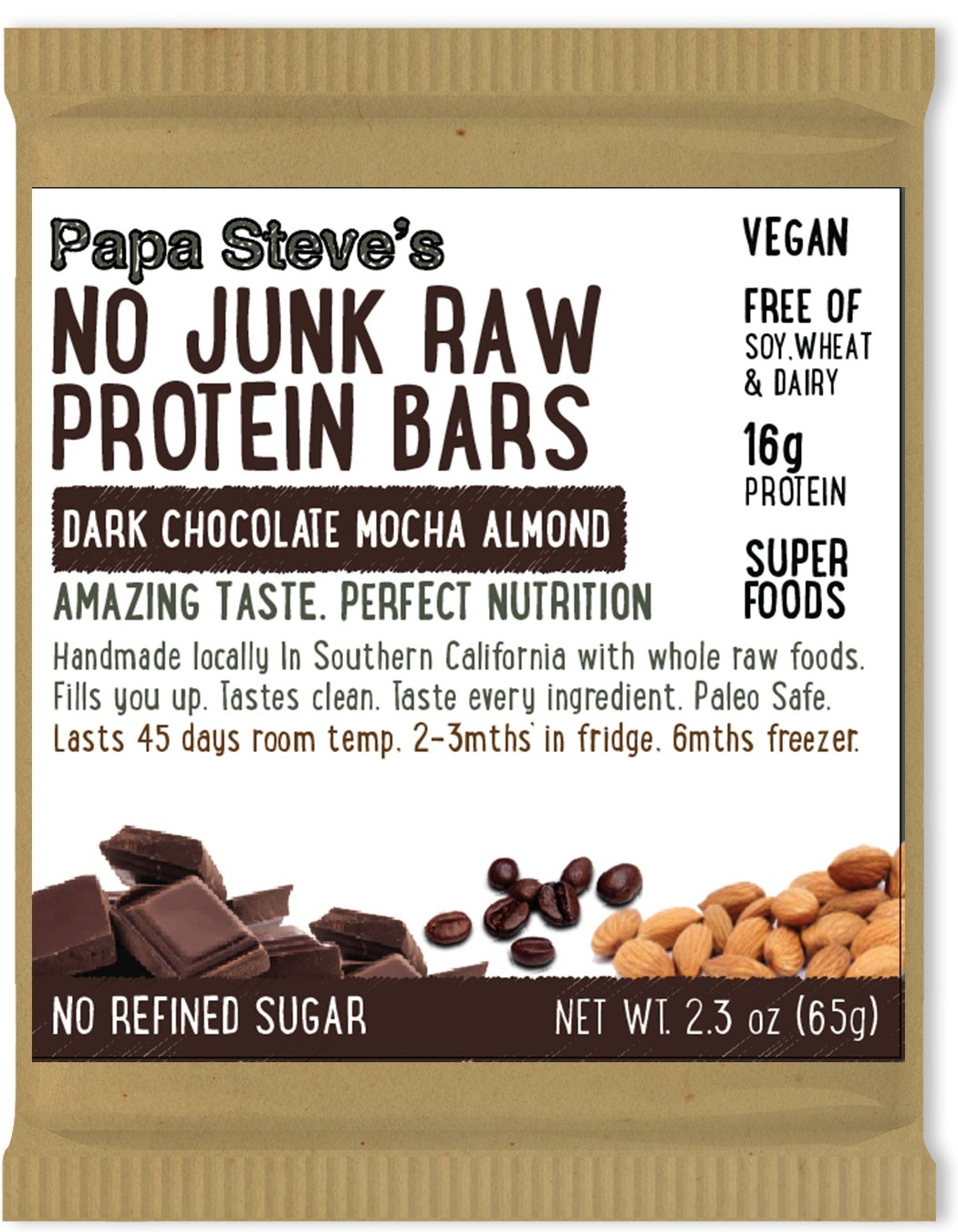 Papa Steve s No Junk Raw Protein Bars, Dark Chocolate Mocha Almond, 2.3 Oz, 10 Count