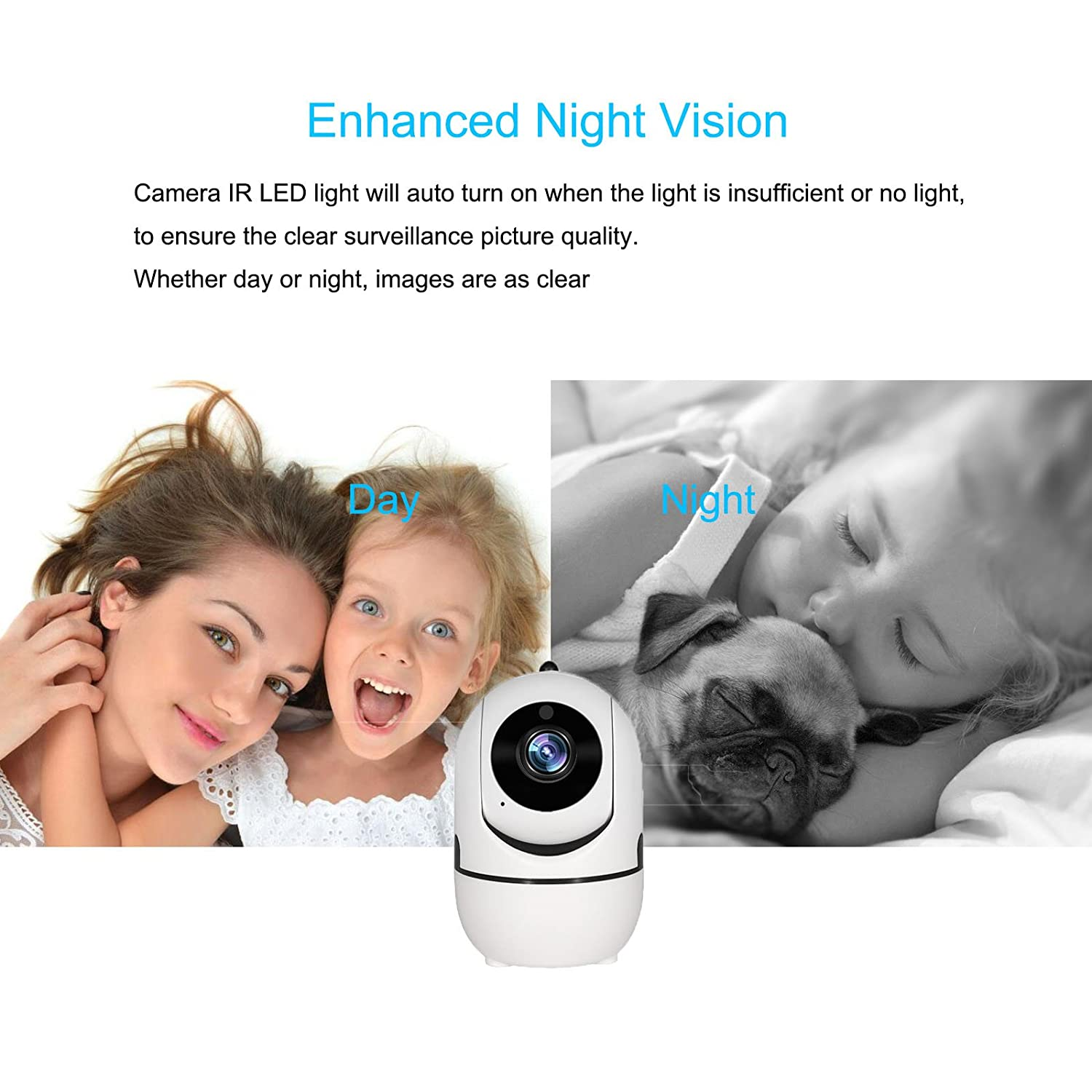 1080P Home Security WiFi IP Camera, Auto Track Wireless Indoor Surveillance Security Cam System, Baby Pet Nanny Doggie Monitor,Two Way Audio, Motion Detection, Night Vision, iOS Android,Cloud Service