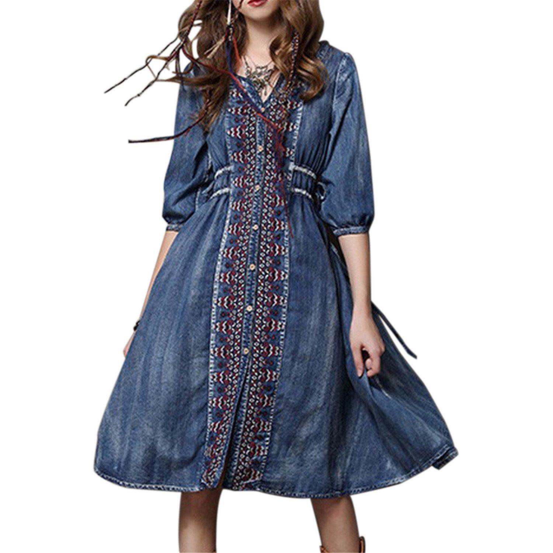 Summer Women Dress Vintage Retro V Neck Cowboy Embroidered Party Woman Midi Denim Dresses A-line Female Vestidos at Amazon Womens Clothing store: