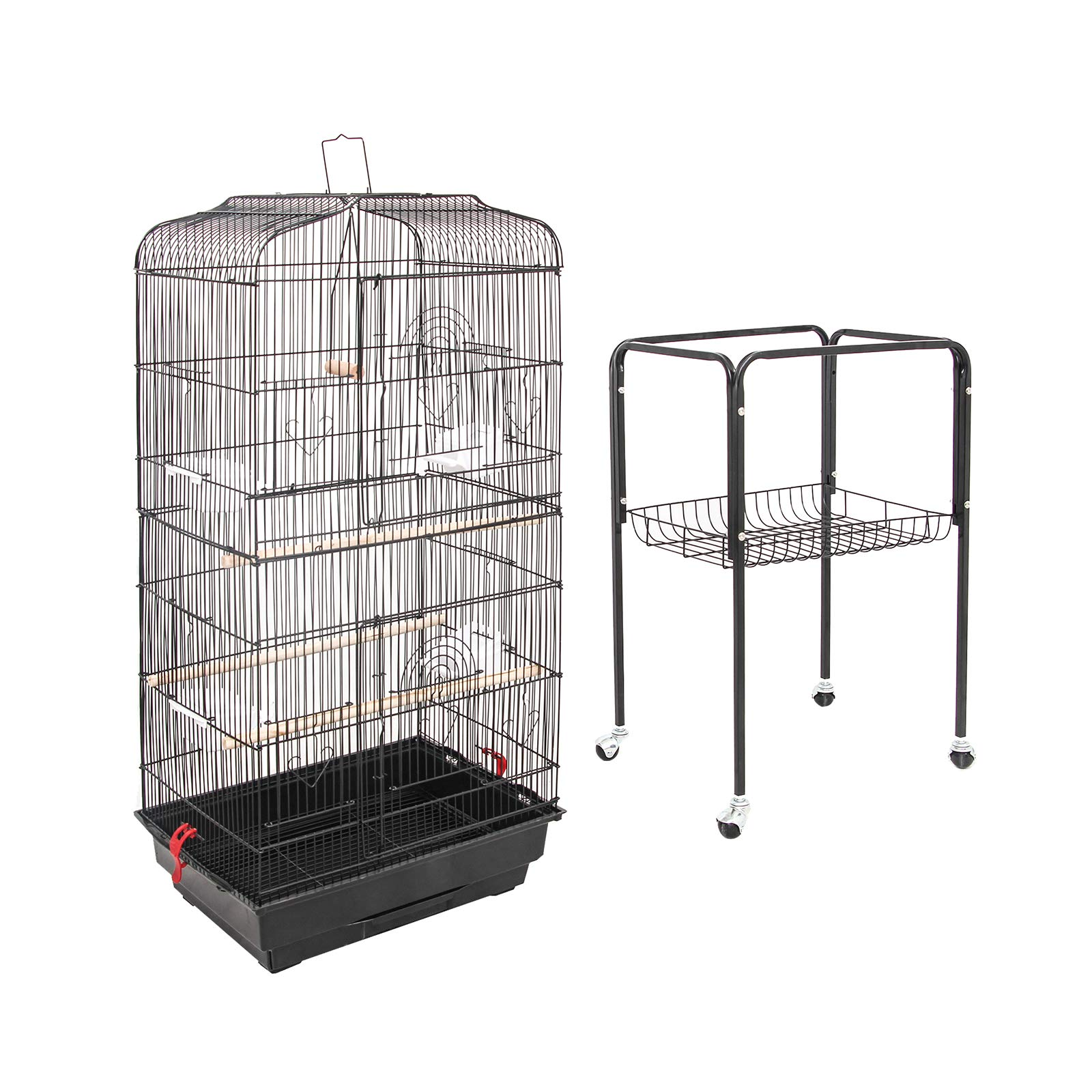 """SUNCOO Large Bird Cage for Parrot Budgie Parakeet Cockatoo Cocatiel Iron Bird Aviary with Stand Pet Supply Black (60 """"H)"""