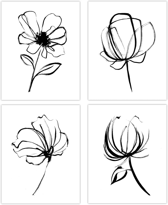 Black White Flower Wall Art Print UNFRAMED 8x10, Simple Brush Drawing Floral Poster for Bedroom, Home Office Decor, Living room Artwork, Modern Kitchen, Farmhouse Aesthetic