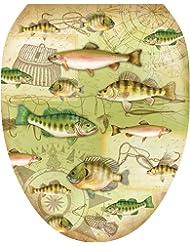 Toilet Tattoos TT-1094-O Gone Fishing Toilet Lid Applique