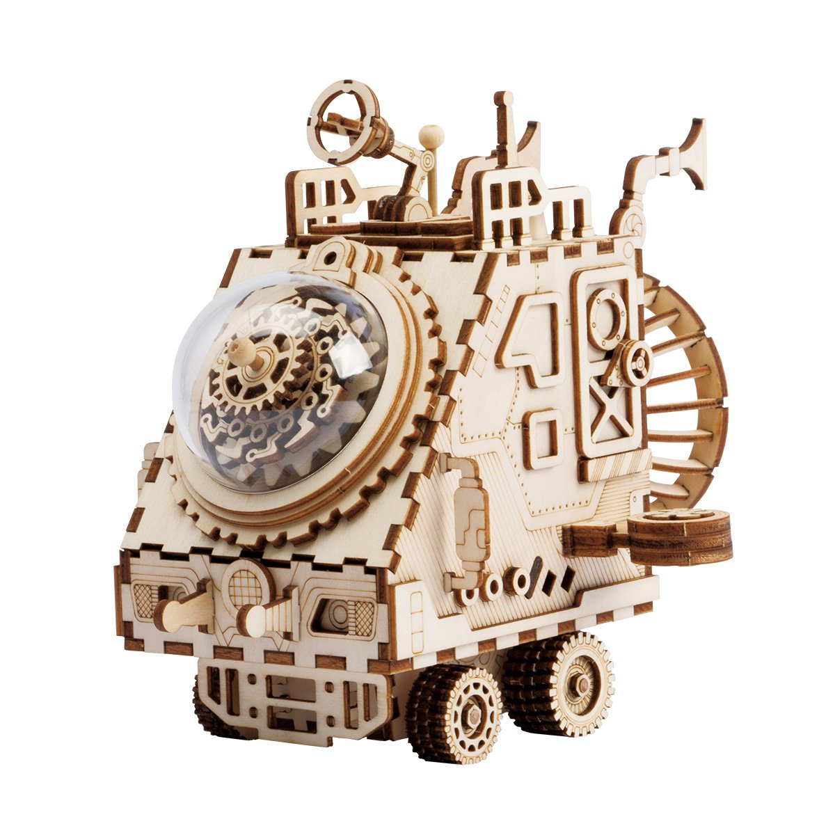 ROKR 3D Wooden Music Box Machinarium-Laser Cut Model Kits-DIY Rabbit Toy-Creative Birthday Christmas for Boys and Girls