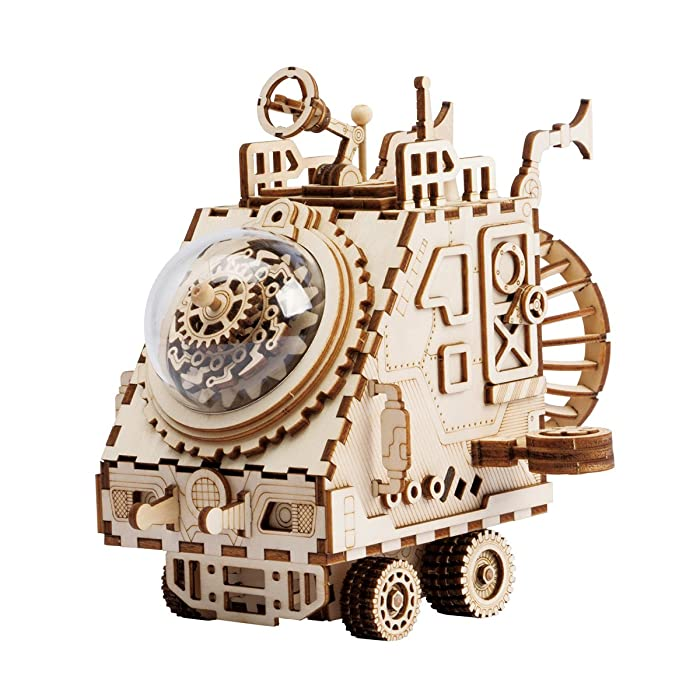 RoWood Music Box 3D Wooden Puzzle Craft Toy, Gift for Boyfirend & Girlfriend, Age 14+, DIY Model Building Kits - Space Vehicle
