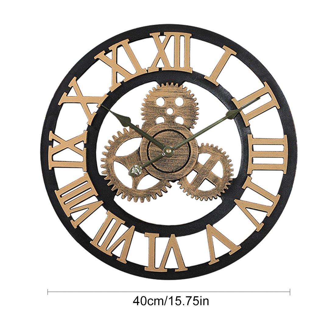 Chiffres Arabes Argent/és OIURV Horloge Murale silencieuse de Style r/étro pour la d/écoration int/érieure Diam/ètre 40cm