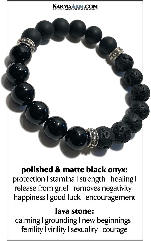 Cross Stretch Bracelets Reiki Healing Chakra Meditation Yoga Jewelry Lava Stone Hematite KarmaArm Strength : Black Onyx