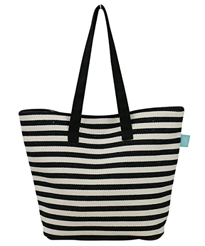 bea1dccfad3 Amazon.com: Large Women Canvas Shoulder Bag, Ladies Weekender Shopping Bag,  Black: Clothing